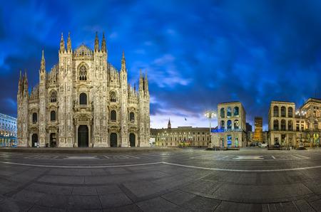 cathedrals: MILAN, ITALY - JANUARY 13, 2015: Duomo di Milano (Milan Cathedral) and Piazza del Duomo in Milan, Italy. Milan