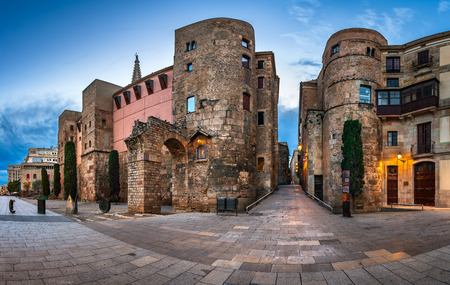 barcelona cathedral: Panorama of Wall and Gate of Roman City Barcino and Placa Nova in the Morning, Barcelona, Catalonia