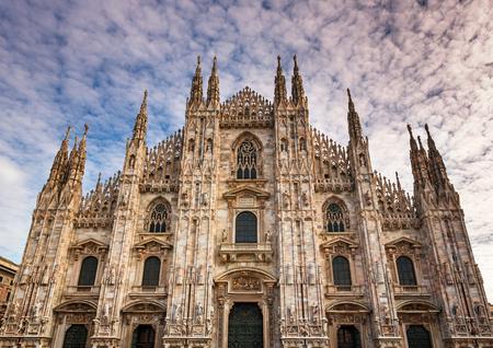 milánó: Facade of Milan Cathedral (Duomo di Milan) in the Morning, Milan, Italy Stock fotó