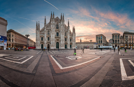 MILAN, ITALY - JANUARY 2, 2015: Milan Cathedral (Duomo di Milano) and Piazza del Duomo in Milan, Italy. Milan