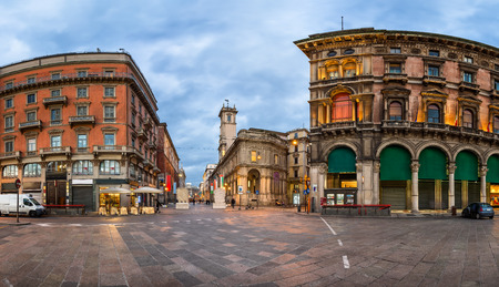 Piazza del Duomo and Via dei Mercanti in the Morning, Milan, Italy Фото со стока