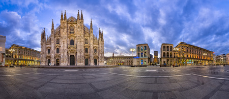 MILAN, ITALY - JANUARY 13, 2015: Duomo di Milano (Milan Cathedral) and Piazza del Duomo in Milan, Italy. Milan