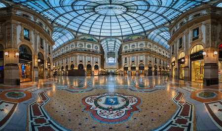 MILAN, ITALY - JANUARY 13, 2015:  Famous Bull Mosaic in Galleria Vittorio Emanuele II in Milan. It Редакционное