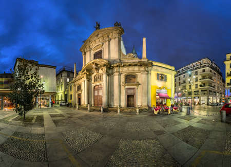 giorgio: MILAN, ITALY - JANUARY 13, 2015: Saint George Church (Chiesa San Giorgio al Palazzo) and Torino Street in Milan. The church was founded around 750 by archbishop Natalis, and was modernized in Baroque style by Francesco Maria Richini in 1623 Editorial