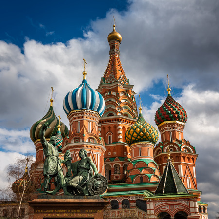 minin: Saint Basil Church and Minin and Pozharsky Monument in Moscow Russia