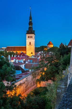 evening church: Talinn Old Town and Saint Nicholas Niguliste Church in the Evening Tallinn Estonia