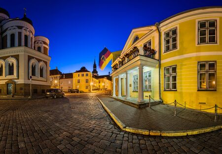 plats: Lossi Plats Square and Alexander Nevski Cathedral in the Evening Tallinn Estonia
