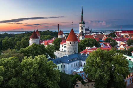 Aerial View of Tallinn Old Town from Toompea Hill in the Evening Tallinn Estonia