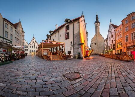 Tallinn Town Hall and Olde Hansa Restaurant in the Morning Tallinn Estonia