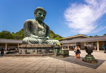buddhist temple: KAMAKURA JAPAN  JUNE 1 2015: The Great Buddha of Kamakura a bronze statue of Amida Buddha in Kotokuin Temple Kamakura Kanagawa Japan. With a height of 13 meters it is the second largest bronze Buddha statue in Japan. Editorial