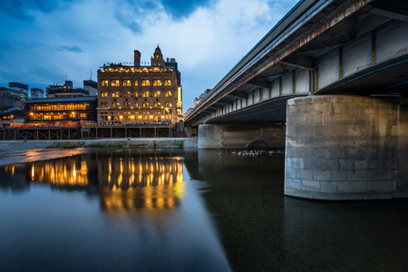 dori: Kamo River and Shijo Dori Bridge in the Evening Kyoto Japan Stock Photo