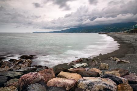 kanagawa: Pebble Beach in Odawara, Kanagawa, Japan Stock Photo