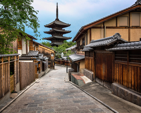 temple tower: Yasaka Pagoda and Sannen Zaka Street in the Morning, Kyoto, Japan