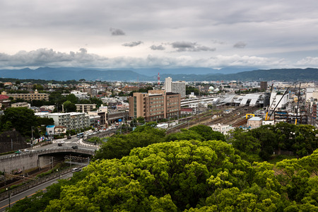 kanagawa: ODAWARA, JAPAN - JUNE 8, 2015: Aerial View of  Odawara city in Kanagawa prefecture, Japan. Odawara population is estimated at about 200 000 inhabitants. Editorial
