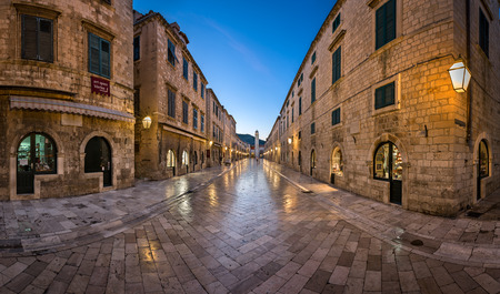 DUBROVNIK, CROATIA - JULY 2, 2014: Panorama of Stradun Street in Dubrovnik. In 1979, the city of Dubrovnik joined the UNESCO list of World Heritage Sites. Editorial