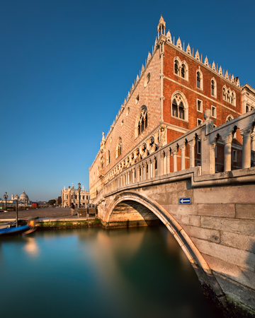 Doge Palace Illuminated by Rising Sun at Sunrise, Venice, Italy