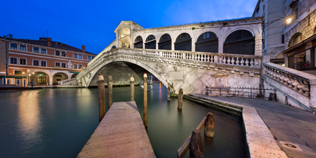 Grand Canal and Rialto Bridge at Dawn, Venice, Italy Stock Photo