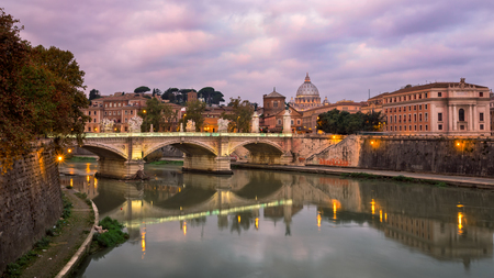 Saint Peters Cathedral and Vittorio Emmanuele II Bridge in the Morning, Rome, Italy