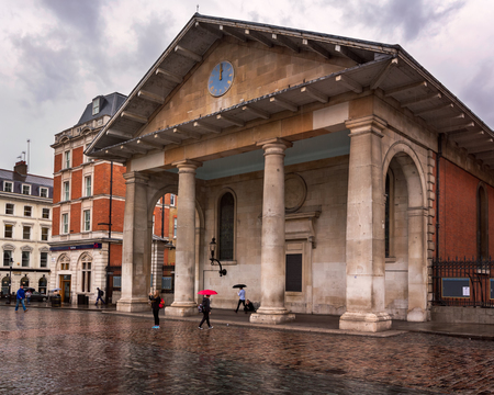 LONDON, UNITED KINGDOM - OCTOBER 6, 2014: Saint Pauls Church in Covent Garden, London. St Pauls Church, also known as the Actors Church is designed by Inigo Jones in 1631.