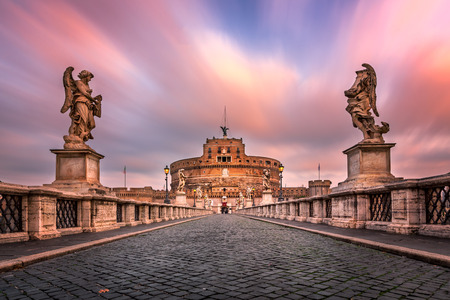 Ponte Sant'Angelo and Castel Sant'Angelo in the Morning, Rome, Italy 写真素材