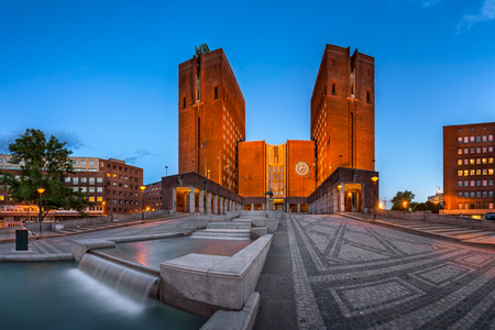 gildhall: Panorama of Oslo City Hall and Fridtjof Nansens Plass in the Evening, Oslo, Norway
