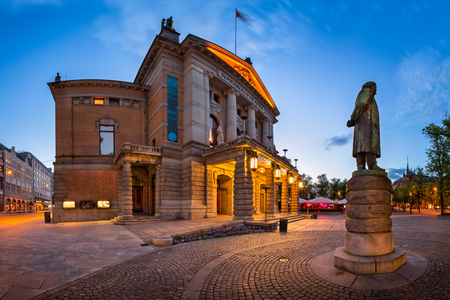 Panorama of National Theater and Henrik Ibsen Statue in the Evening, Oslo, Norway