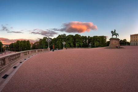 Panorama of the Royal Palace Sqaure and Statue of King Karl Johan in the Evening, Oslo, Norway Editorial
