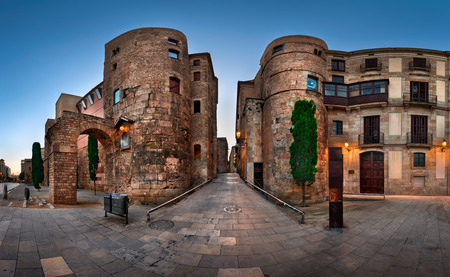 Panorama of Ancient Roman Gate and Placa Nova in the Morning, Barcelona, Catalonia Stock Photo