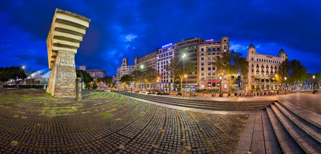 francesc: BARCELONA, SPAIN - NOVEMBER 17, 2014: Monument to Francesc Macia on the Placa de Catalunya. The square occupies an area of about 50,000 m2 and its considered to be the center of the city.