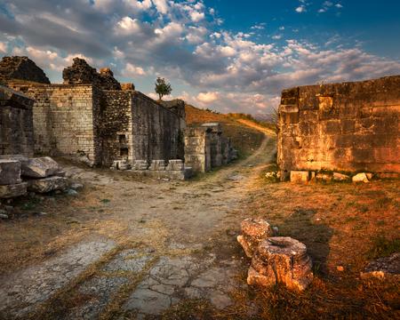 old brick wall: Ruins of Ancient Roman City Salona near Split in Croatia Stock Photo