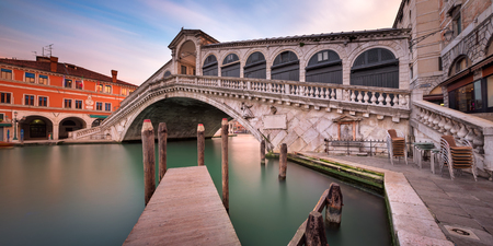 Panorama of Grand Canal and Rialto Bridge in the Morning, Venice, Italy Reklamní fotografie