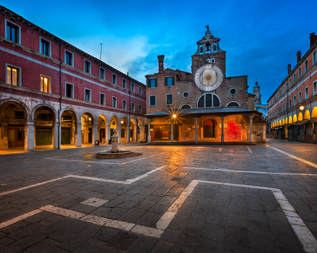 San Giacomo di Rialto Square and Church in the Morning, Venice, Italy
