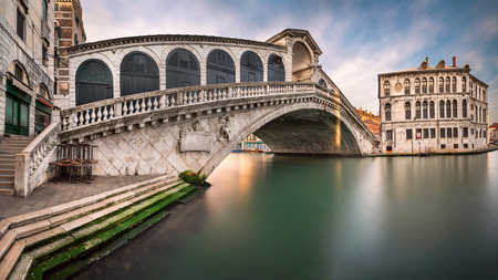 Panorama of Grand Canal and Rialto Bridge in the Morning, Venice, Italy Stock Photo