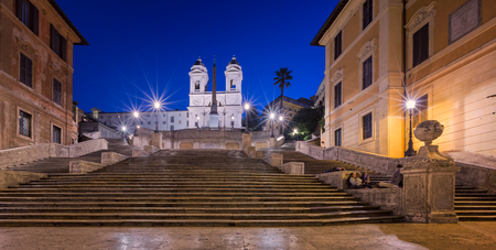 monti: Spanish Steps and Trinita del Monti Church in the Morning, Rome, Italy