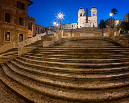 Spanish Steps and Trinita del Monti Church in the Morning, Rome, Italy