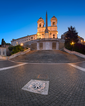monti: ROME, ITALY - NOVEMBER 1, 2013: Spanish Steps and Trinita del Monti Church in Rome. The monumental stairway of 135 steps was built with French diplomat �tienne Gueffier�s funds.