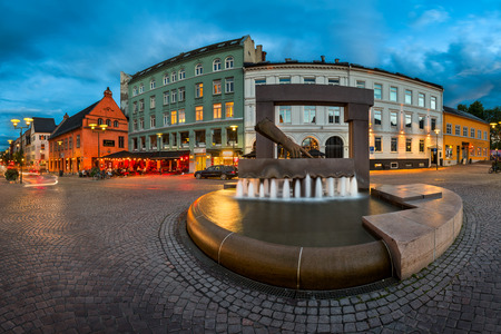 he said: OSLO, NORWAY - JUNE 12, 2014: Sculpture of King Hand in Oslo, Norway. King Christian IV decided to rebuild the city after fire in 1624. He pointed to this spot and said - the new town will lie here!