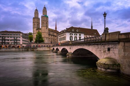 grossmunster cathedral: Grossmunster Church and Limmat River in the Morning, Zurich, Switzerland