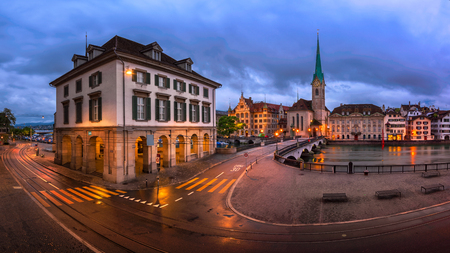 munster: Panorama of Helmhaus and Fraumunster Church in the Morning, Zurich, Switzerland Stock Photo