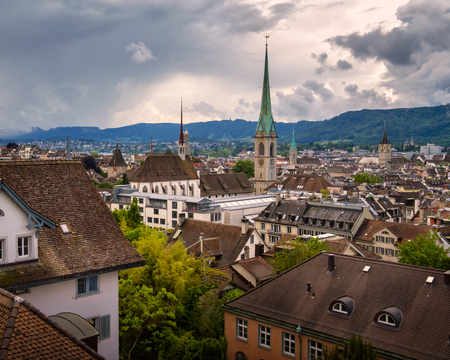 Aerial View of Zurich Skyline from University Vantage Point, Zurich, Switzerland Stock Photo