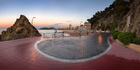 LLORET DE MAR, SPAIN - JUNE 21, 2016: Lloret de Mar Seafront in Catalonia, Spain. Lloret de Mar is most popular Costa Brava resort and located only 75 km from Barcelona. Editorial