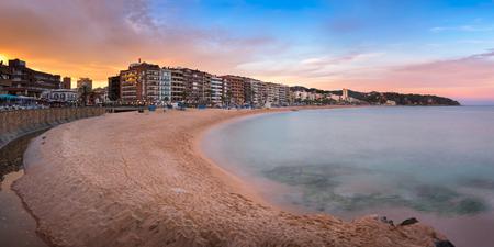 LLORET DE MAR, SPAIN - JUNE 20, 2016: Panorama of Lloret de Mar Seafront in Catalonia, Spain. Lloret de Mar is most popular Costa Brava resort and located only 75 km from Barcelona.