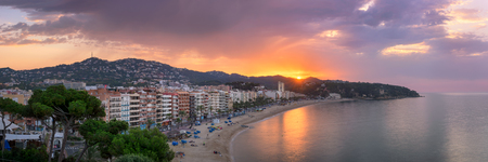 mar: LLORET DE MAR, SPAIN - JUNE 25, 2016: Panorama of Lloret de Mar in Catalonia, Spain. Lloret de Mar is most popular Costa Brava resort and located only 75 km from Barcelona.