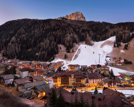 selva: SELVA VAL GARDENA, ITALY - JANUARY 7, 2017: Selva Val Gardena in Dolomites, Italy. Selva is a comune in the Val Gardena in South Tyrol, located about 30 kilometres east of the city of Bolzano. Stock Photo