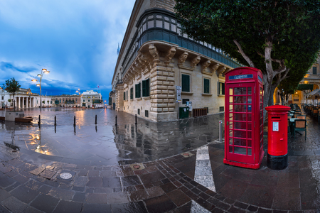 recognised: VALLETTA, MALTA - February 16, 2015: Saint George Square in Valletta, Malta. The City of Valletta is the capital of Malta and was officially recognised as a World Heritage Site by UNESCO in 1980.