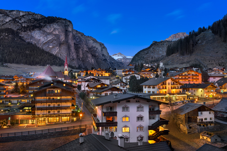 SELVA VAL GARDENA, ITALY - JANUARY 7, 2017: Selva Val Gardena in Dolomites, Italy. Selva is a comune in the Val Gardena in South Tyrol, located about 30 kilometres east of the city of Bolzano. Stock Photo