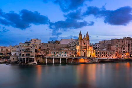 Balluta Bay and Church of Our Lady of Mount Carmel in the Evening, Saint Julian, Malta