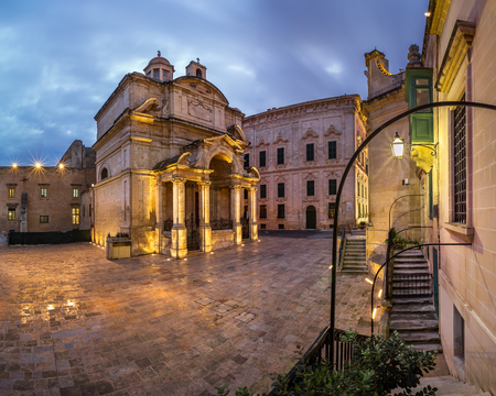 Saint Catherine of Italy Church and Jean Vallette Piazza in the Morning, Vallette, Malta Stock Photo