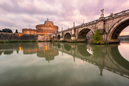 castel: Ponte SantAngelo and Castel SantAngelo in the Morning, Rome, Italy