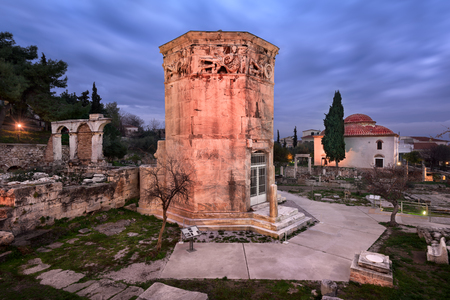 Tower of the Winds and Roman Agora in the Morning, Athens, Greece